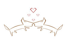 Funny sweet dog's in love. Vector Royalty Free Stock Images