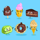 Funny sweet food characters cartoon  Royalty Free Stock Photos