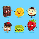 Funny sweet food characters cartoon  Royalty Free Stock Photo