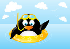 Funny swimming penguin. With lifebuoy Royalty Free Stock Images