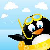 Funny swimming penguin Royalty Free Stock Image