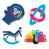 Funny_symbols_graphic_design. Four  funny illustration of creativity and graphic design. Vector illustration Royalty Free Stock Photos