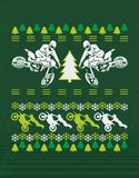 Christmas design of a motorcycle. Funny t-shirt design with rider and Santa`s sleigh royalty free illustration