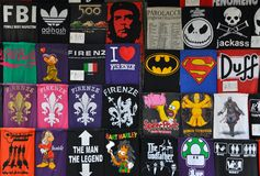 Funny t shirt market. Funny t shirts on sale in Florence , Italy Stock Photos
