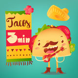 Funny taco character playing guitar, special offer, banner, poster template Stock Photo