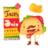 Funny taco character playing guitar, special offer, banner, poster template Stock Photos