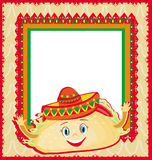 Funny Tacos Character , Mexican frame card Stock Images