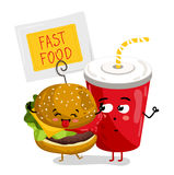 Funny take away glass and burger cartoon character Royalty Free Stock Image