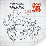 Funny Talking Teeth Toy for April Fools' Day, Vector Illustration. Hilarious chattering talking teeth toy ready for pranks in April Fools' Day draw in doodle Royalty Free Stock Photography