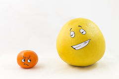 Funny tangerine and pomelo Royalty Free Stock Photo