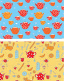 Funny tea banners with sweets, cats, Royalty Free Stock Image