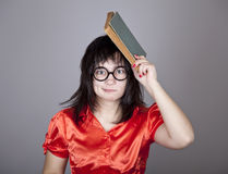 Funny teacher with books. Studio shot royalty free stock photography