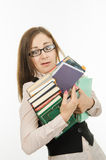 Funny teacher with books and notebooks Stock Images