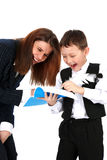 Funny teacher and boy. With book isolated on white royalty free stock photo