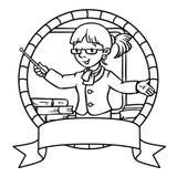 Funny teacher. Coloring book or emblem Stock Photos