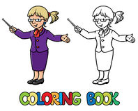 Funny teacher. Coloring book Stock Images