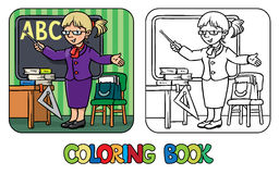 Funny teacher. Coloring book. Profession series. Royalty Free Stock Photos