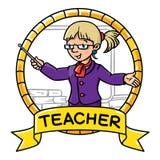 Funny teacher. Emblem. Profession ABC series Royalty Free Stock Image
