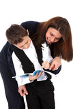 Funny teacher or mom and boy with book Stock Photos