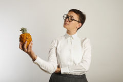 Funny teacher with a pineapple Royalty Free Stock Image