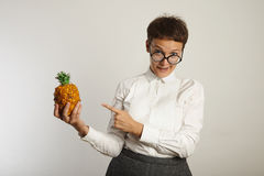 Funny teacher with a pineapple royalty free stock photo