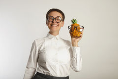Funny teacher with a pineapple Royalty Free Stock Photos
