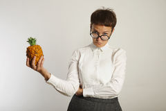 Funny teacher with a pineapple royalty free stock images
