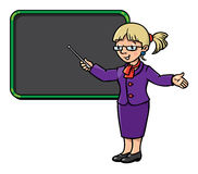 Funny teacher with pointer. Profession series. Royalty Free Stock Image
