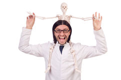 Funny teacher with skeleton isolated Royalty Free Stock Photos