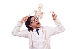 Funny teacher with skeleton isolated Royalty Free Stock Photo