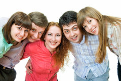 Funny team. Five young people smiling on white background Stock Photo