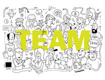 Funny Team. Group of Funny People in Doodle Style Royalty Free Stock Photography