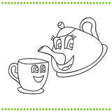 Funny teapot and cup - coloring book Royalty Free Stock Photos