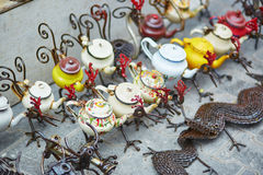 Funny teapots in form of birds on Moroccan market Stock Photo