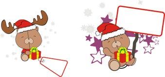 Funny teddy bear baby xmas cartoon set Royalty Free Stock Image