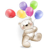 Funny Teddy bear comes with colored balloons Stock Photos