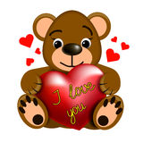 Funny Teddy bear with heart Royalty Free Stock Photos