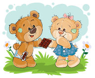 funny teddy bear sweet tooth treats his girlfriend chocolate Stock Images