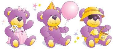 Funny Teddy bears - party, beach, romantic Stock Photos