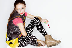 Funny teen age girl in crazy dress Royalty Free Stock Photography