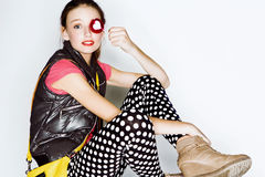 Funny teen age girl in crazy dress Royalty Free Stock Image