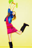 Funny teen age girl in crazy dress Stock Photo
