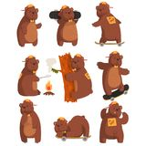 Funny teen bear in various situations. Cartoon forest animal character. Brown grizzly in orange cap and bow tie. Flat Royalty Free Stock Image