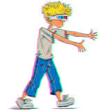 Funny teen boy wearing 3d glasses. Royalty Free Stock Photography