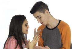 Funny teen couple, smiling newly  wake up and dressed in their p Stock Photos