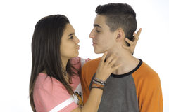 Funny teen couple, smiling newly  wake up and dressed in their p Stock Photo