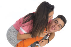 Funny teen couple smiling Stock Photo