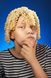 Funny teen girl with macaroni instead hair Royalty Free Stock Photography