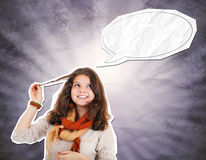 Funny teen girl paper collage Stock Photos