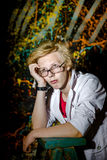 Funny teenage boy posing like a crazy professor or student Royalty Free Stock Photo